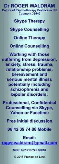 Doctor Roger Waldram,Psychotherapy,via skype,counselling,online therapy,depression,anxiety,stress,trauma,relationship problems,bereavement,mental illness,schizophrenia,bipolar