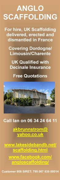 Anglo Scaffolding Hire,UK scaffolding,erected,Dordogne,Limousin,Charente,qualified,insured,free quotes,digger,dumper,hire,with drive,2.7t mini digger,2.0t dumper,digger driver,machines,groundwork undertaken
