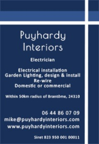 Puyhardy Interiors,electrician,English,electrical installation,garden lighting,design,install,rewire,domestic,commercial,install to French Norms,Brantome,Dordogne