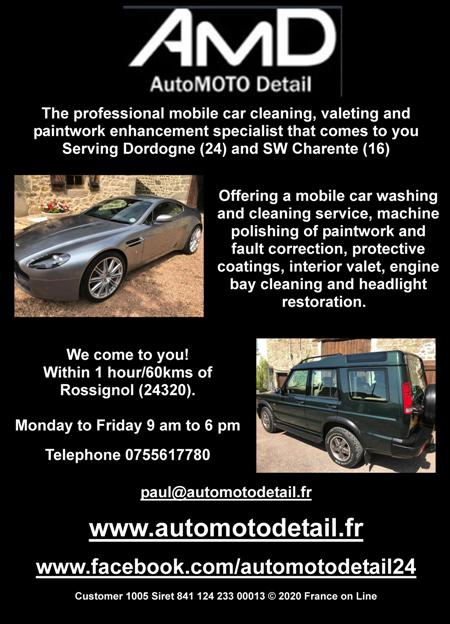 AMD,auto moto detail,France,Dordogne,Charente,mobile car cleaning,valeting,paintwork enhancement,mobile car washing,cleaning service,machine polishing,paintwork,fault correction,protective coatings,interior valet,engine bay cleaning,headlight restoration,Rossignol,24320,cars,motor bikes