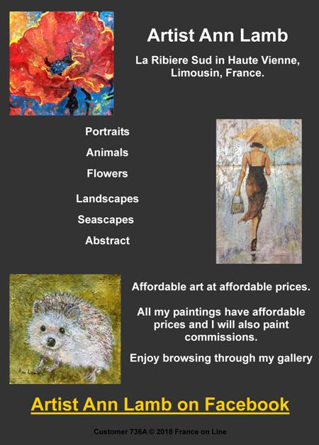 Artist Ann Lamb,La Ribiere Sud,Haute Vienne,Limousin,France,portraits,animals,flowers,landscapes,seascapes,abstract,affordable art