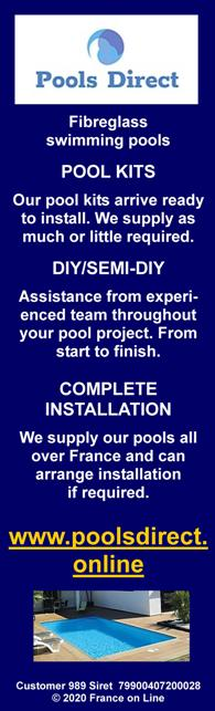 Pools Direct on line,fibreglass swimming pool,fibreglass pool,swimming pool kits,diy,do it yourself,complete installation,English spoken,France,cheap swimming pools